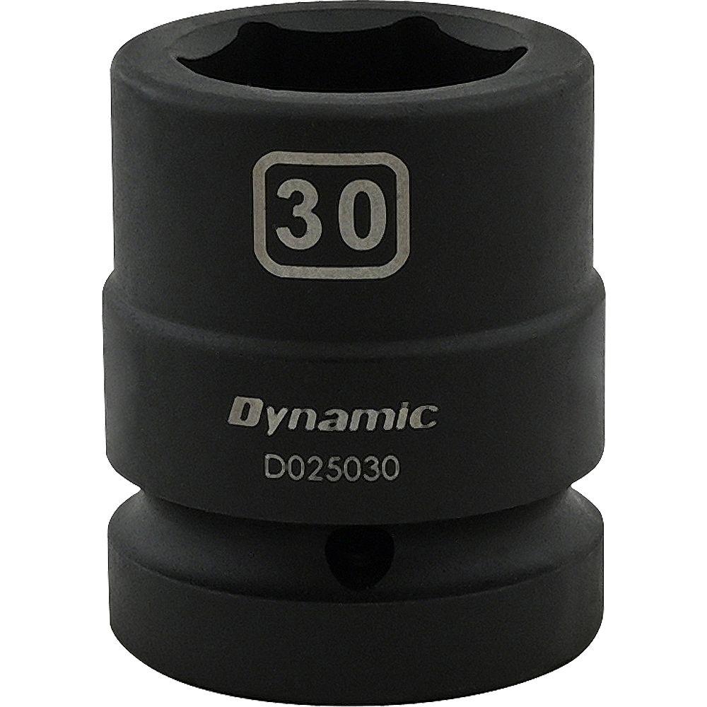 DYNAMIC TOOLS 30MM X 1 inch Drive, 6 Point Standard Length, Impact Socket
