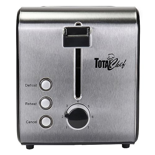 Total Chef 2-Slice Stainless Steel Toaster with Adjustable Browning Controls