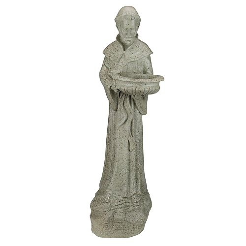 "Northlight 24"" St. Francis of Assisi Speckled Religious Bird Feeder Outdoor Garden Statue"