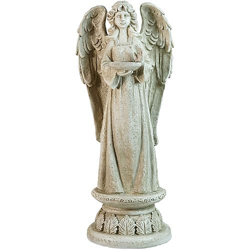 "Northlight 22.5"" Gray Standing Religious Angel with Bird Bath Votive Candle Holder Outdoor Garden Statue"