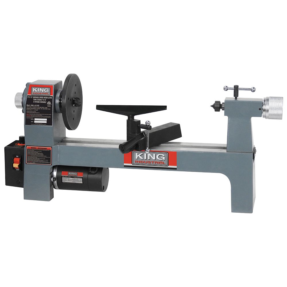 King Industrial 8 inch x 13 inch Variable speed wood lathe