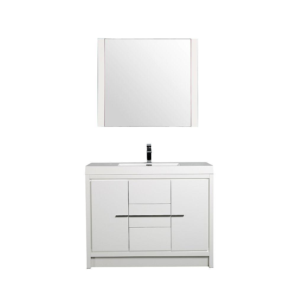 Nordic Canada Meuble-lavabo Gia avec miroir, 42 po blanc