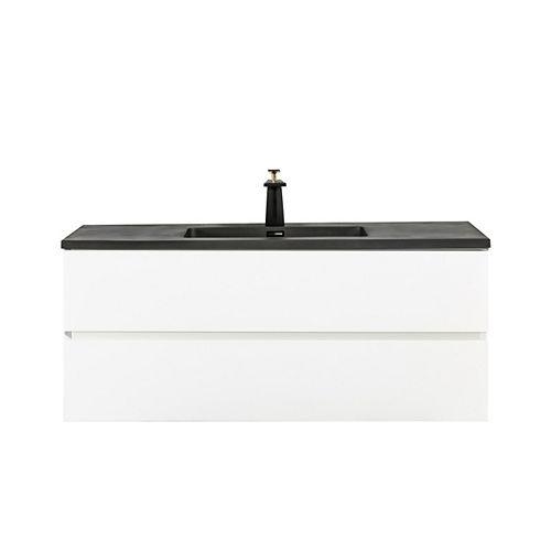 Kalei Vanity White with Black Quartz Top, 48 inch