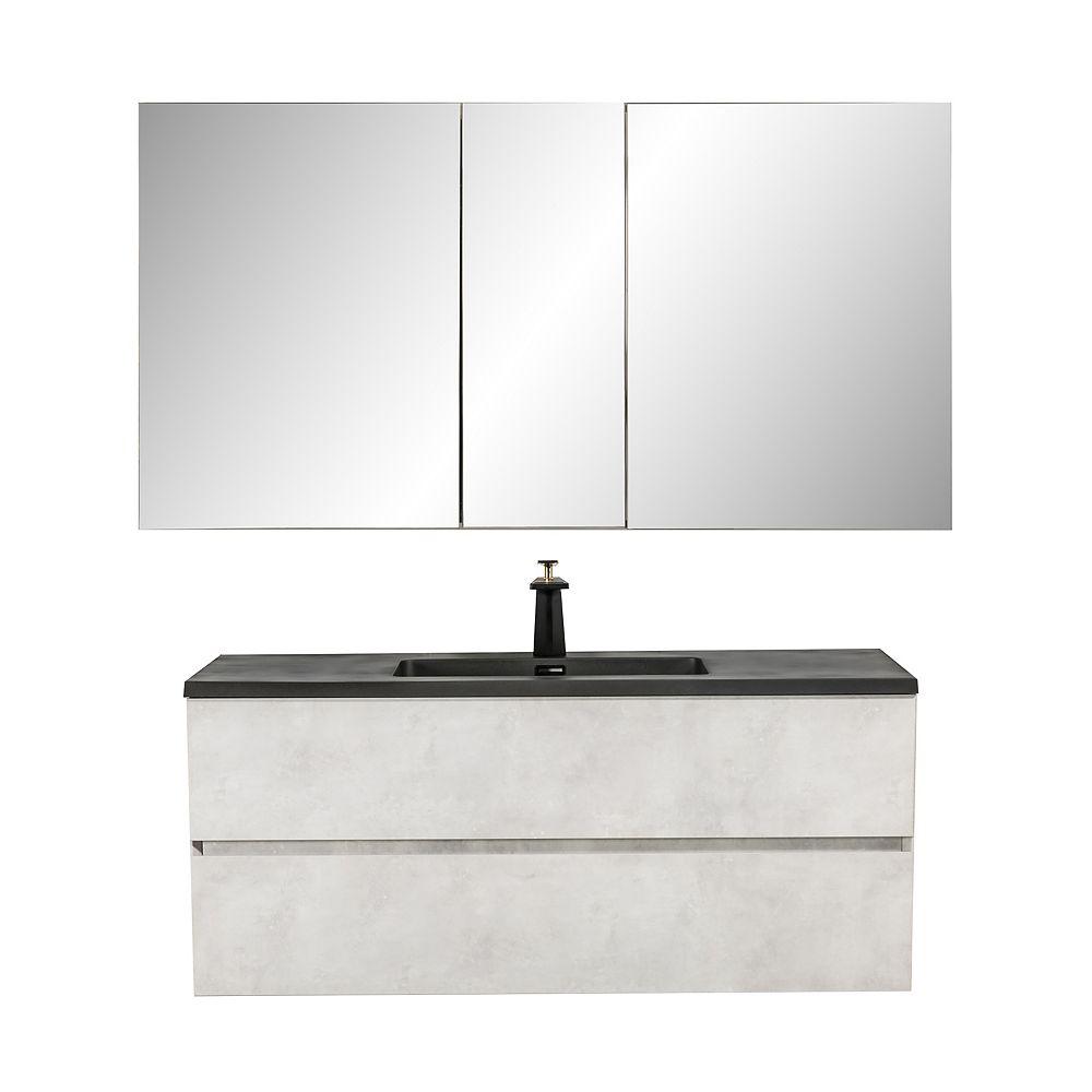 Nordic Canada Kalei Vanity Combo Grey with Medicine Cabinet, 48 inch
