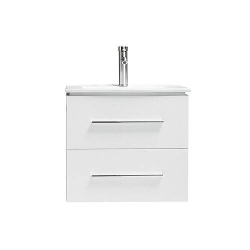 Lotus Vanity White with Porcelain Top, 24 inch