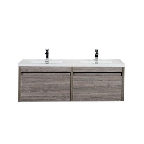 Nordic Canada Emilia Vanity Maple Grey with Acrylic Top, 60 inch