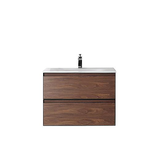 Magenta Vanity Walnut with Solid-Surface Top, 30 inch