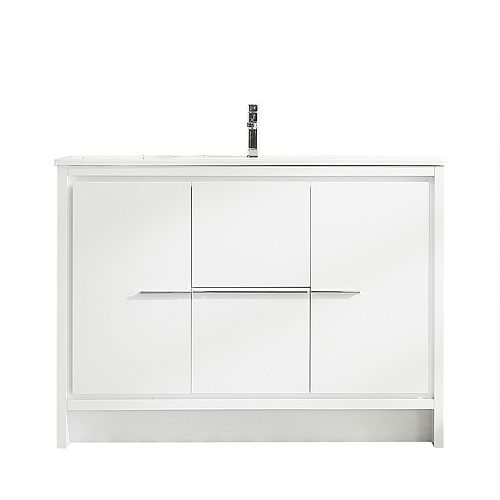 Ursula Vanity White with Porcelain Top, 48 inch