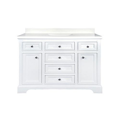 Calabria Vanity White with White Quartz Top, 48 inch