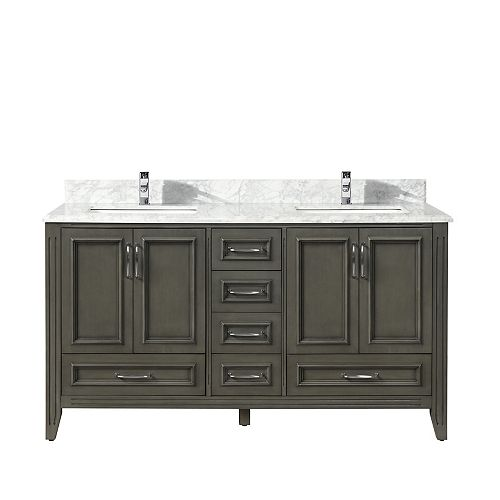Nordic Canada Ellie Vanity Grey with Carrara Marble Top, 60 inch