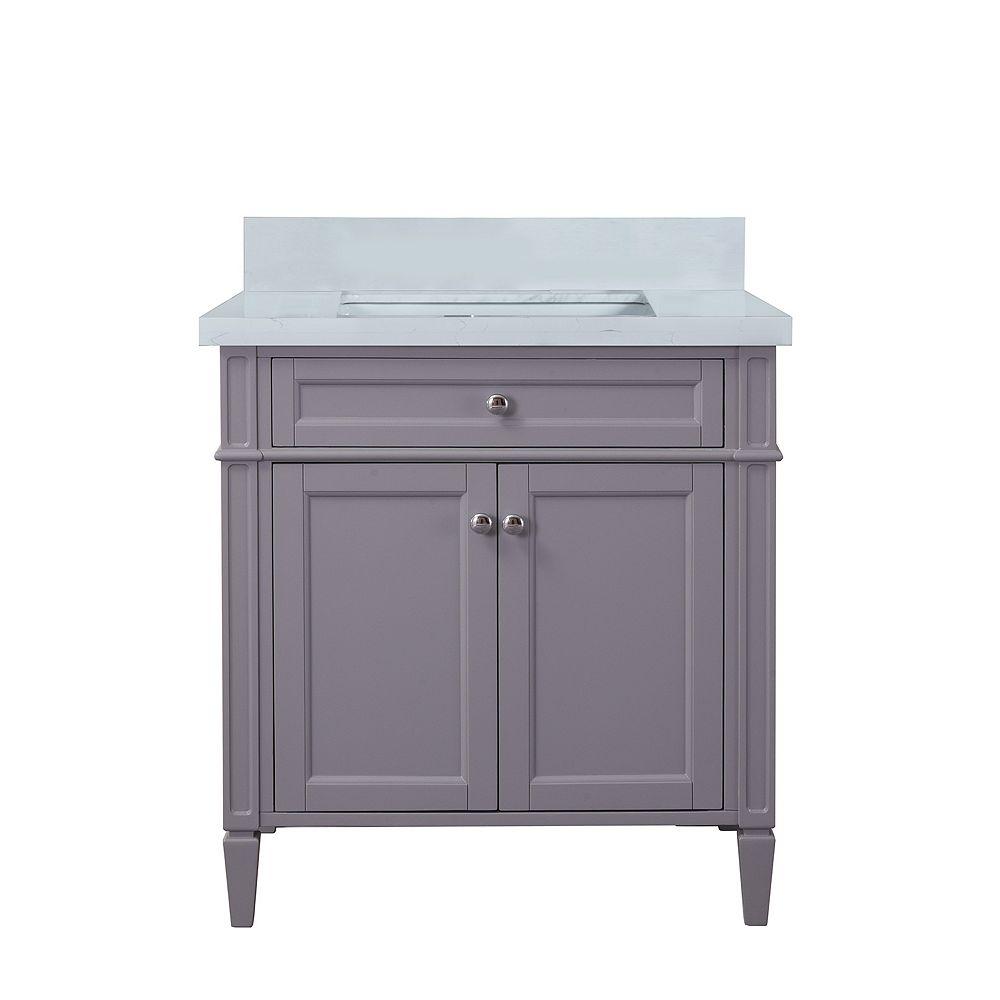 Nordic Canada Meuble-lavabo Sardinia avec comptoir quartz blanc, 30 po gris