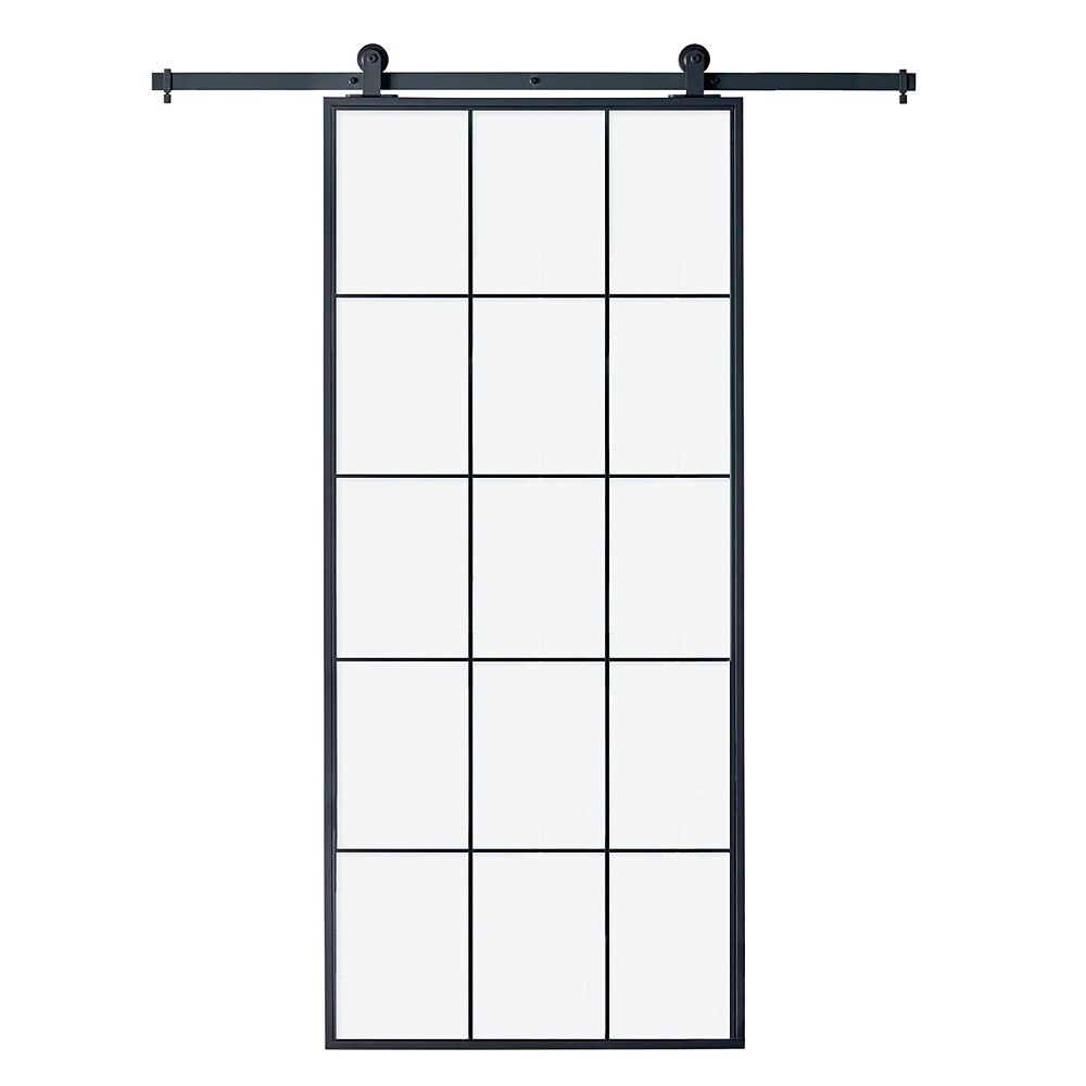 Colonial Elegance Queen S 37 X 84 Clear Glass Barn Door With Hardware Kit The Home Depot Canada