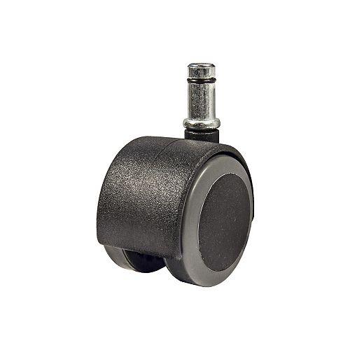 (2-Pack) 2-inch (50 mm) Soft Tread Twin-Wheel Furniture Swivel Caster, 30 kg (66 lb) Load Capacity