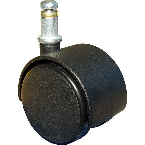 Dual-Wheel Furniture Caster, Swivel Without Brake, with Friction Grip Stem, Black