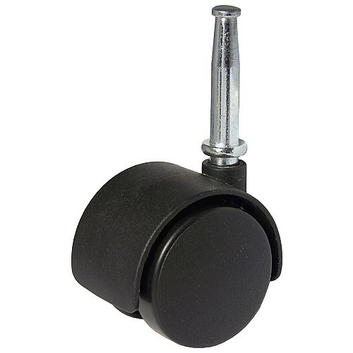 (2-Pack) 1 9/16-inch (40 mm) Twin-Wheel Furniture Swivel Caster, 25 kg (55 lb) Load Capacity