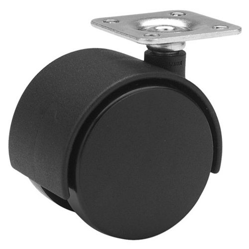Dual-Wheel Furniture Caster, Swivel Without Brake, with Plate, Black