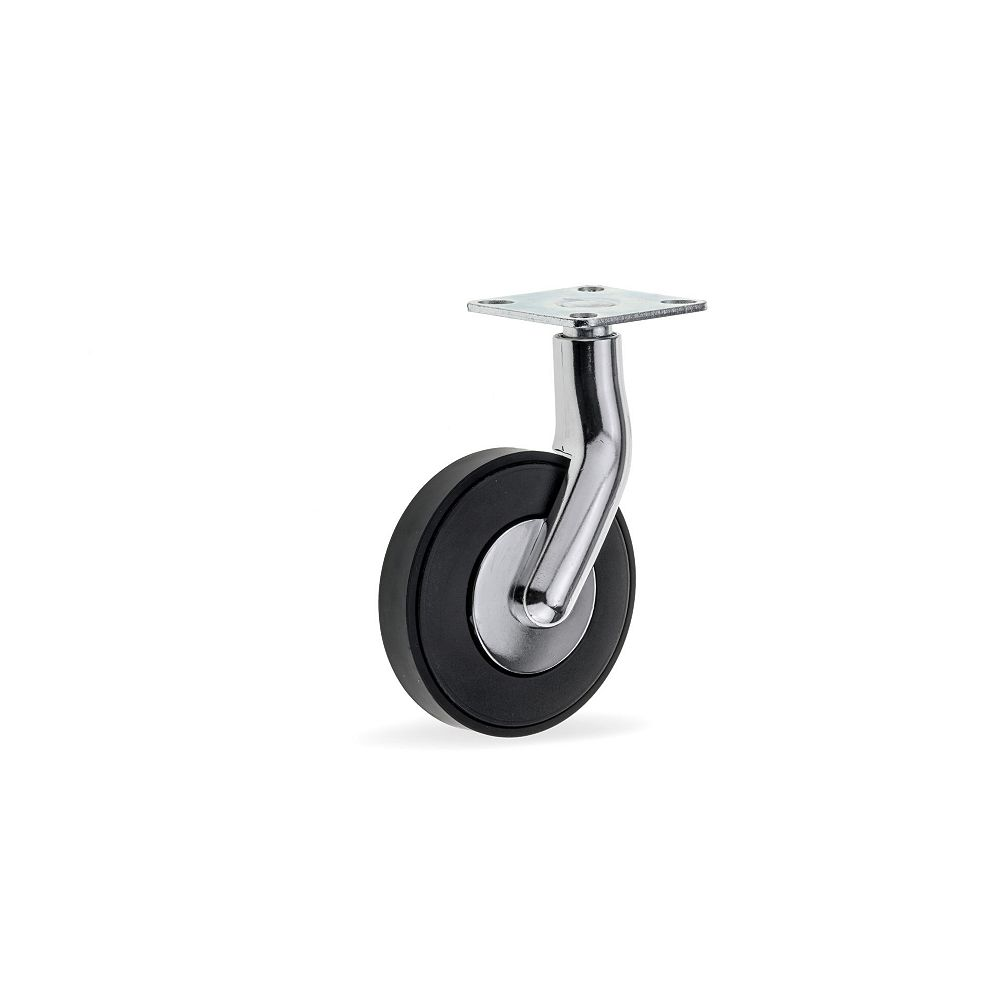 Richelieu GIRO Design Casters, Swivel Without Brake, with Plate, Black and Chrome