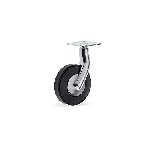 GIRO Design Casters, Swivel Without Brake, with Plate, Black and Chrome