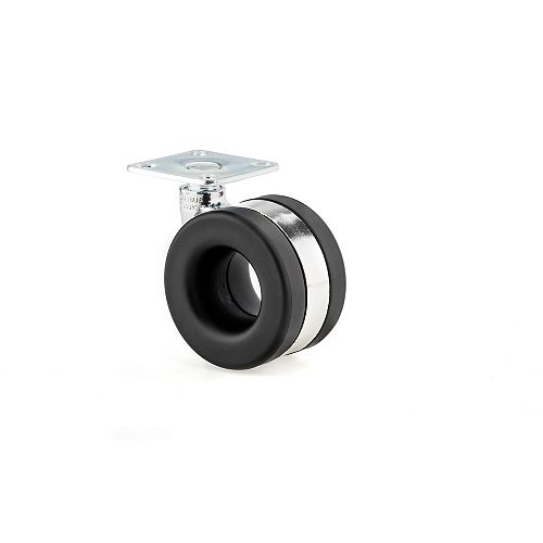 Moebius Casters by Starck, Swivel Without Brake, with Plate, Chrome, Black