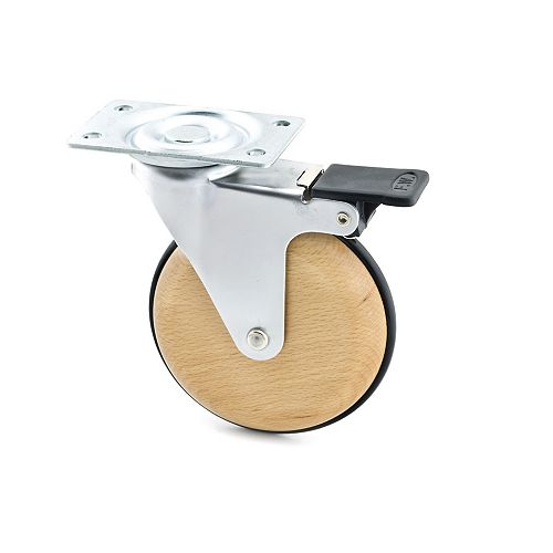 Single Wheel Design Caster, Swivel with Brake, with Plate, Gray, Beech