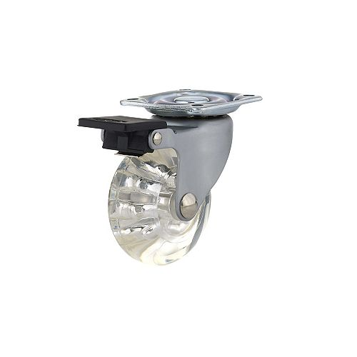 Contemporary Furniture Caster, Swivel with Brake, with Plate, Clear