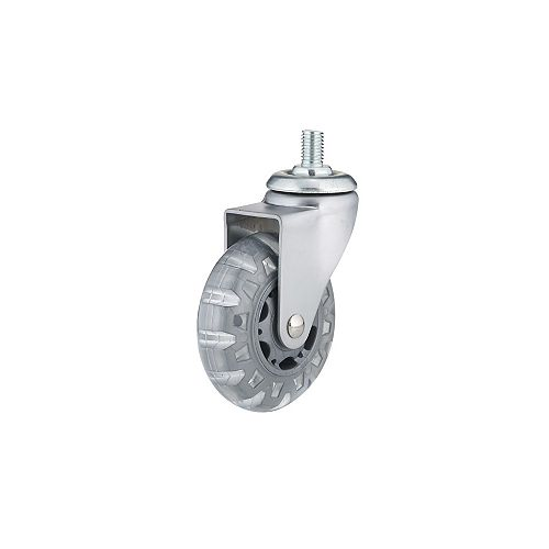 Contemporary Furniture Caster, Swivel Without Brake, with Threaded Stem, Light Gray