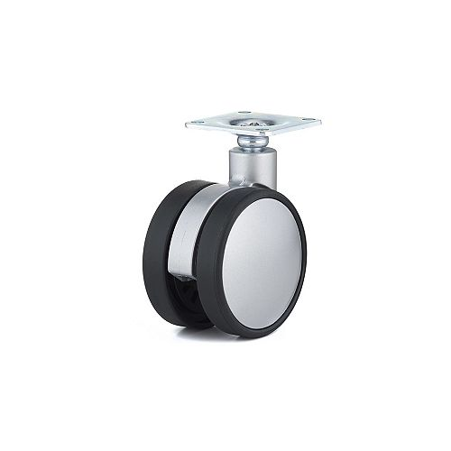 Contemporary Twin Wheel Casters, Swivel Without Brake, with Plate, Black, Silver