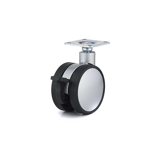 Contemporary Twin Wheel Casters, Swivel with Brake, with Plate, Black, Silver