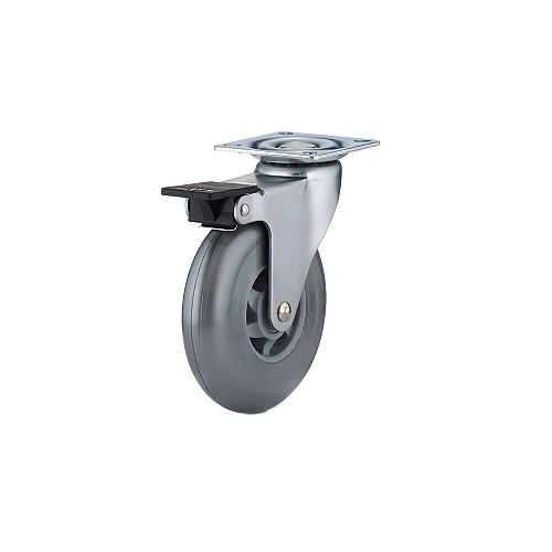 Contemporary Furniture Caster, Swivel with Brake, with Plate, Gray