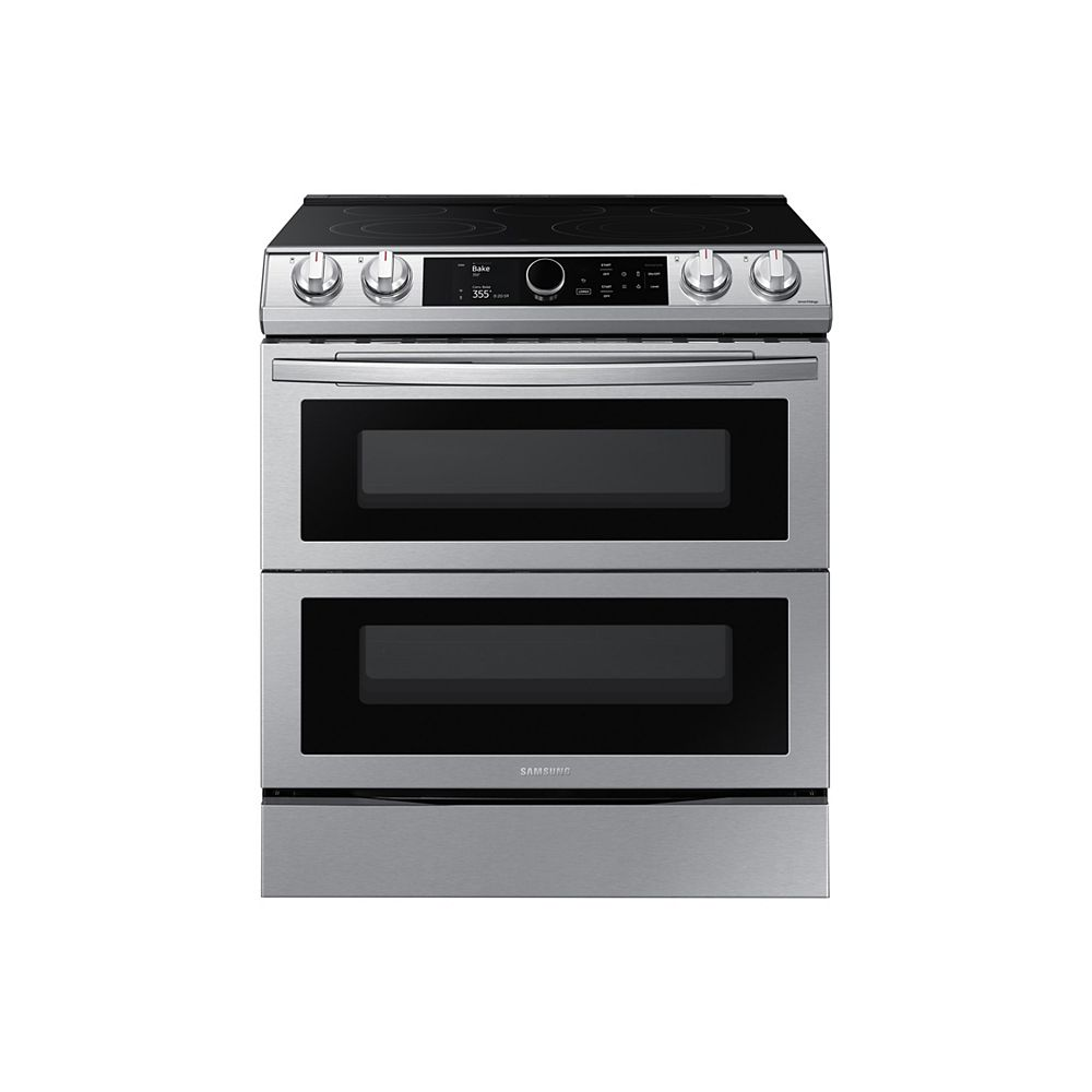 Samsung 6.3 cu. ft. Double Oven Slide-In Electric Range with Self-Cleaning Convection Oven and Air Fry in Stainless Steel