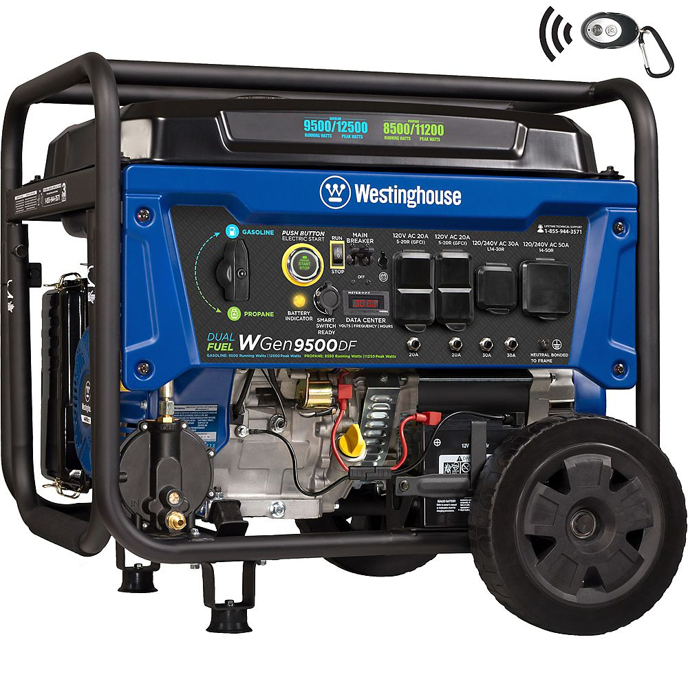 Westinghouse WGen9500DF 12,500/9,500 Watt Dual Fuel Gas or Propane Powered Portable Generator with Remote Start