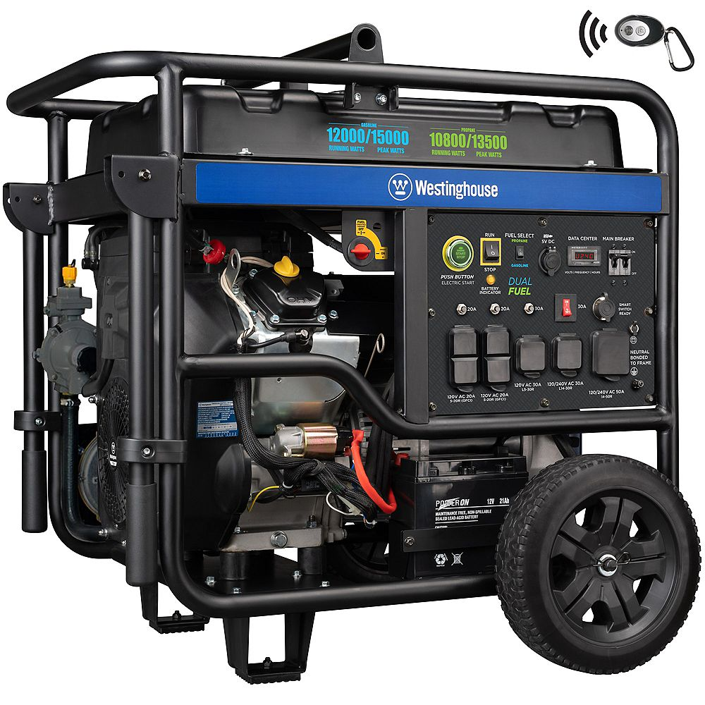 Westinghouse WGen12000DF 15,000/12,5000 Watt Dual Fuel Gas or Propane Powered Portable Generator with Smart Idle