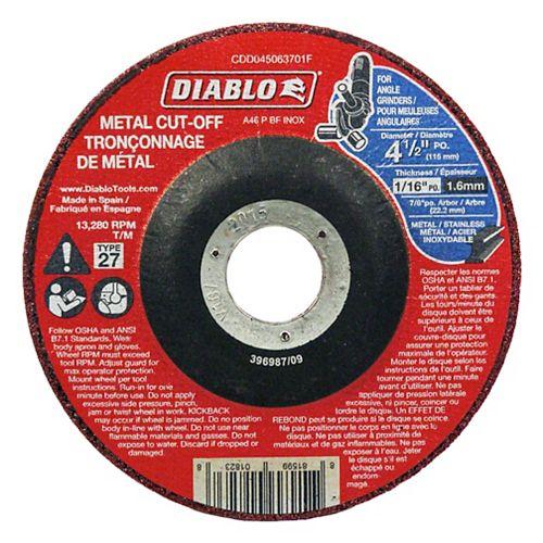 Diablo Disque de tronçonnage 4-1/2 po Type 27 pour métal paquet en vrac de 100 disques