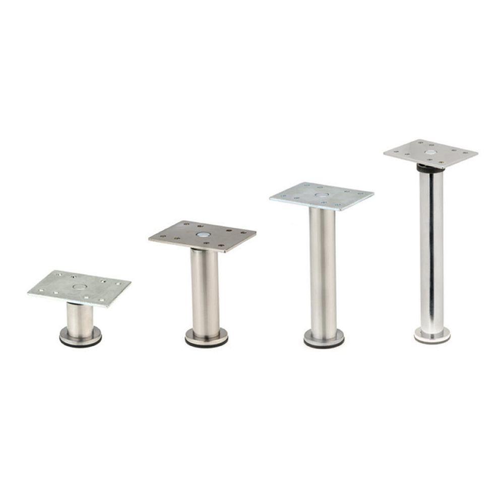 Richelieu BORSA - Adjustable Furniture Leg, 5 29/32 in (150 mm), Satin Nickel