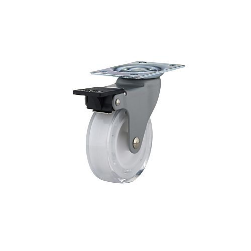 Contemporary Furniture Caster, Swivel with Brake, with Plate, Clear White
