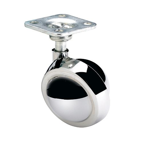 Ball Furniture Caster, Swivel Without Brake, with Plate, Polished Chrome