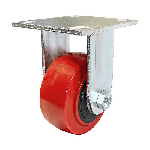 MoldOn Polyurethane Industrial Casters, Fixed, with Plate, Red