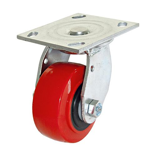 MoldOn Polyurethane Industrial Casters, Swivel Without Brake, with Plate, Red