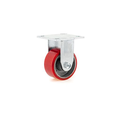 Heavy-Duty MoldOn Polyurethane Industrial Casters, Fixed, with Plate, Red