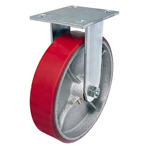 Richelieu Heavy-Duty MoldOn Polyurethane Industrial Casters, Fixed, with Plate, Red