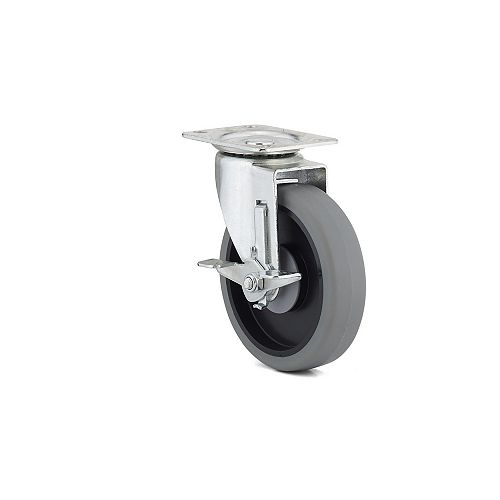 Industrial Gray Thermoplastic Rubber Caster, Swivel with Brake, with Plate, Gray