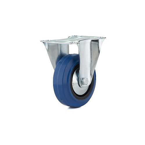 Industrial Blue Elastic Rubber Caster, Fixed, with Plate, Blue
