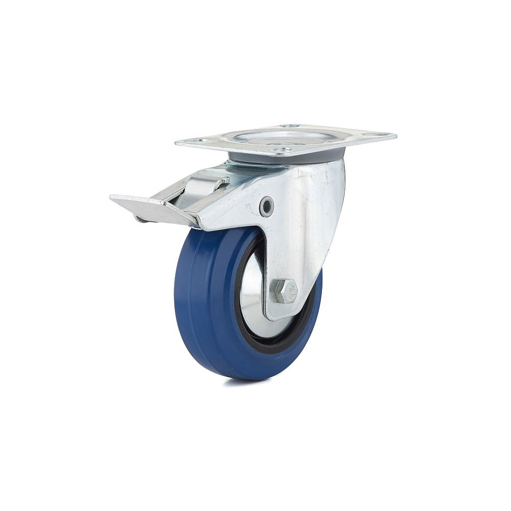 Richelieu Industrial Blue Elastic Rubber Caster, Swivel with Double-Lock Brake, with Plate, Blue