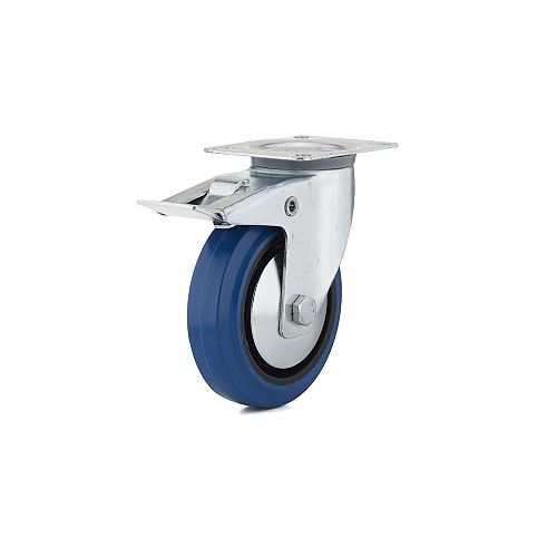 Industrial Blue Elastic Rubber Caster, Swivel with Double-Lock Brake, with Plate, Blue