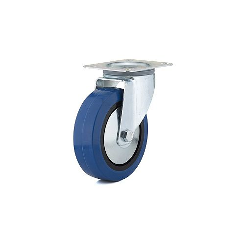 Industrial Blue Elastic Rubber Caster, Swivel Without Brake, with Plate, Blue