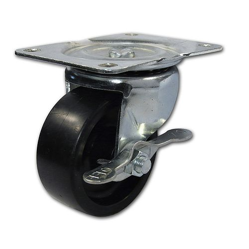 Industrial Black General Duty Polypropylene Caster, Swivel with Brake, with Plate, Black