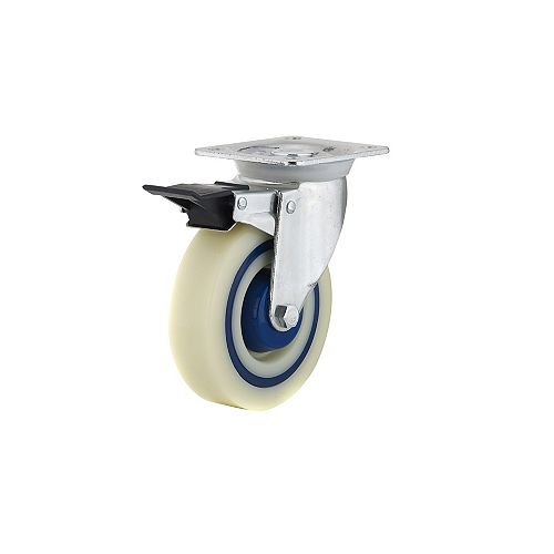 Industrial Polyamide Rubber Caster, Swivel with Double-Lock Brake, with Plate, Blue, Beige