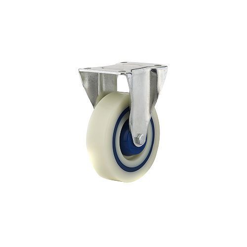 Industrial Polyamide Rubber Caster, Fixed, with Plate, Blue, Beige
