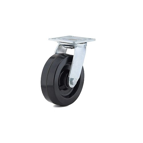 Industrial Black Phenolic Casters, Swivel Without Brake, with Plate, Black