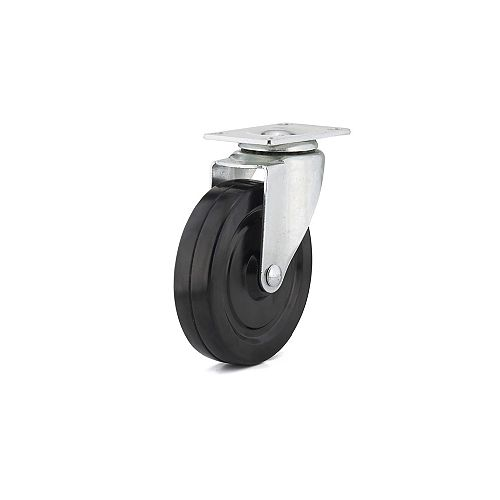 Richelieu Industrial Black General-Duty Rubber Caster, Swivel Without Brake, with Plate, Black
